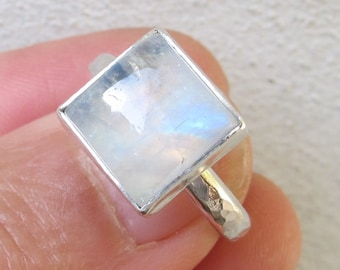 Moonstone Ring, Sterling Silver Ring, Rainbow Moonstone, Handmade
