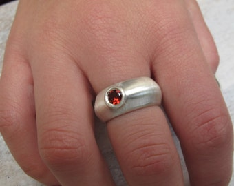 Gemstone Ring, Sterling Silver Ring, Garnet gemstone, Garnet Ring, Wide band