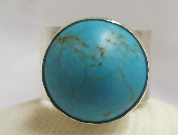 Turqoise Silver Ring/ Sterling  Silver Ring With Turquoise Howlite stone/Wide Band/ Size 8.5
