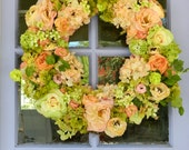 Door Wreath Spring Wreath Rose Hydrangea Wreath Mothers Day Wreath Mothers Day Gift Front Door Wreath