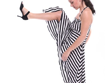 Tango Dress, Black and White Tango Dress, Tango Clothes in Stripes, Custom Tango Clothing
