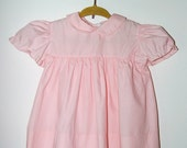 Vintage rosy pink little girls dress with Peter Pan collar - 6/12 months