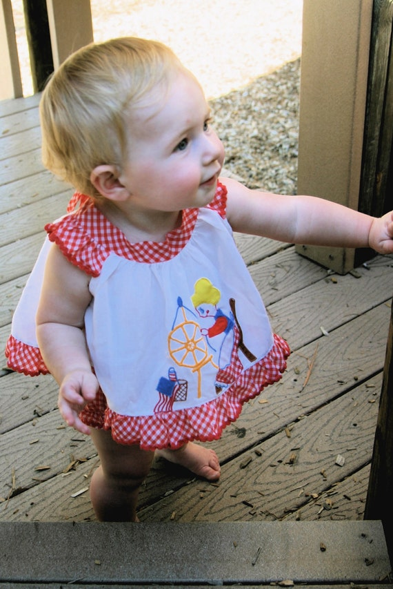 Vintage red and white gingham outfit for little girl with seamstress applique
