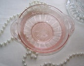 Vintage Pink Candy Dish - Pressed Glass Bowl - Trinket Dish - 50's Dish - Pink Glass Bowl