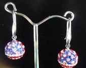 Swarovski Crystal Pave Charm Earrings: Olympics US Flag Earrings