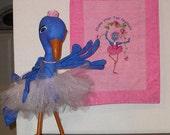 Unique Ballerina -  Blue bird ballerina and her own little wall hanging
