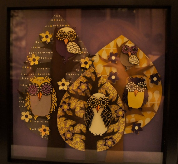 Owl Family  Tree Shadowbox