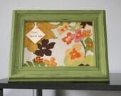 Flower Fabric CorkBoard with Green Frame - Fabric Message Board - Bulletin Board - Message Center
