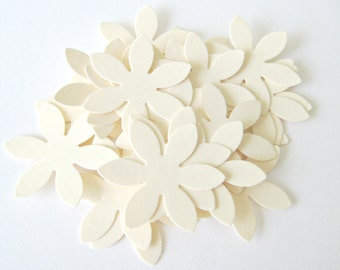 50 CREAM Flower Die cuts punches cardstock 1 inch -Scrapbook, cards, embellishment, confetti