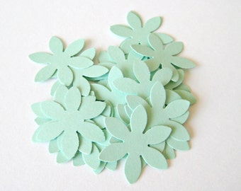 100 MINT GREEN Flower Die cuts punches cardstock 1 inch -Scrapbook, cards, embellishment, confetti