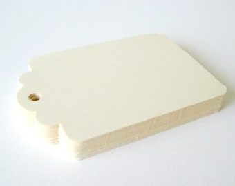 50 CREAM Hang Tag, Gift Tag, Price Tag Die cuts punches cardstock 2.25X1.5 inch -Scrapbook, cards