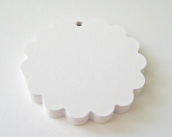 25 WHITE Scallop Hang Tag, Gift Tag, Price Tag Die cuts punches cardstock 1 7/8 inch -Scrapbook, cards