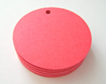 25 RED Circle Hang Tag, Gift Tag, Price Tag Die cuts punches cardstock 1.5 inch -Scrapbook, cards