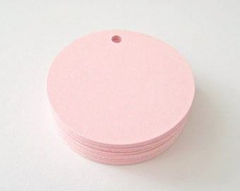 25 PINK Circle Hang Tag, Gift Tag, Price Tag Die cuts punches cardstock 1.5 inch -Scrapbook, cards