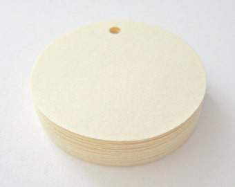 25 CREAM Circle Hang Tag, Gift Tag, Price Tag Die cuts punches cardstock 1.5 inch -Scrapbook, cards