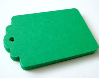 50 GREEN Hang Tag, Gift Tag, Price Tag Die cuts punches cardstock 2.25X1.5 inch -Scrapbook, cards