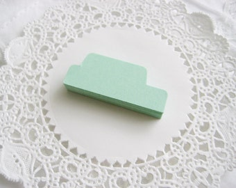 50 MINT GREEN Tab Die cuts punches cardstock 1.5 inch -Scrapbook, cards, embellishment, organization