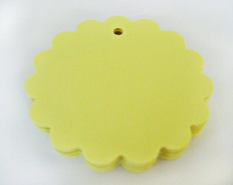 25 YELLOW Scallop Hang Tag, Gift Tag, Price Tag Die cuts punches cardstock 1 7/8 inch -Scrapbook, cards