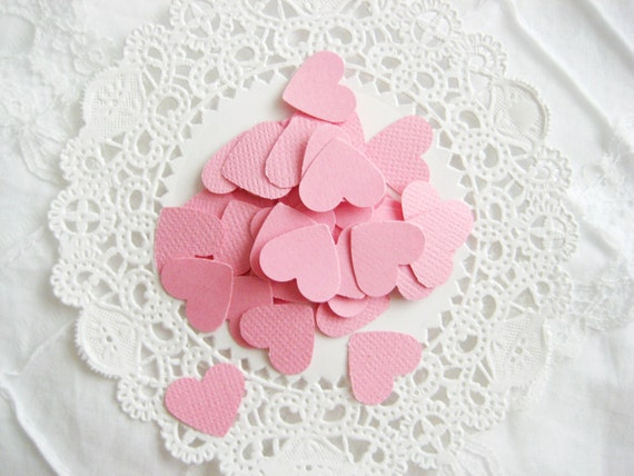 50 PINK Hearts Die cuts punches cardstock 5/8 inch -Scrapbook, cards, embellishment, confetti