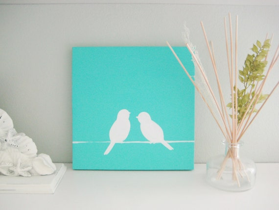 Two Birds sitting on power line - Turquoise -10X10 Canvas Acrylic Painting, Wall Art, Home Decor