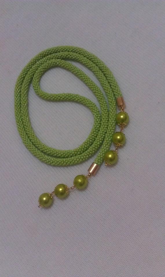 Green Pearl-Bead Crochet Necklace
