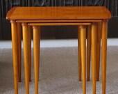 Mid century Danish modern stackable table set teak Eames era