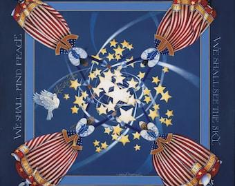 patriotic angel lithograph stars stripes archival reprint