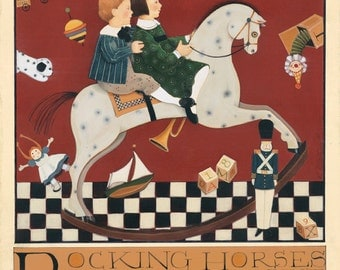 children rocking horse archival print lithograph fok art