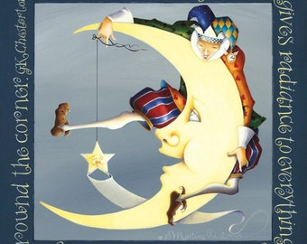 lithograph original acrylic painting reprint jester moon