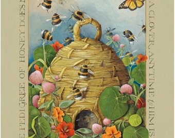 bee hive butterfly lithograph acrylic painting