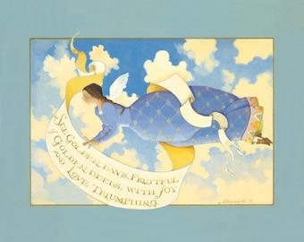 lithograph original acrylic painting folk art angel clouds heaven