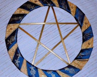 Gold and Blue Pentagram Wreath with Celtic beads