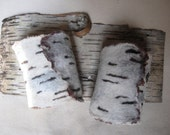 Felted Birch Bark Wool Nuno Wrist Cuffs
