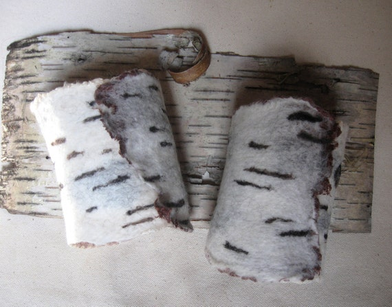 Felted Birch Bark Wool Nuno Wrist Cuffs