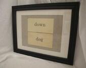 Framed Vintage Flash Cards - Down Dog
