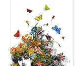 "Girl with Buterflies and Flowers - ART Print 8"" x 10"""