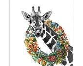 Mixed media Decorative art Animal painting drawing illustration portrait  print POSTER 8x10The Happy Giraffe