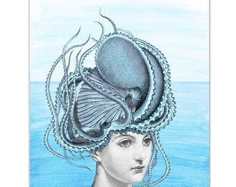 "Coming out of the Water - Girl with Octopus - Original ART Print 8"" x 10"""