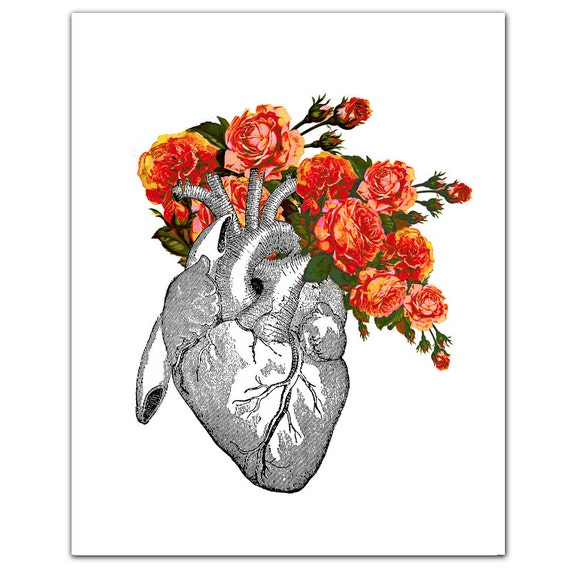 "Vintage Heart with Roses - ART Print 8"" x 10"""