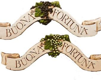 Buona Fortuna Italian decorative Tuscan decor with purple or green grapes
