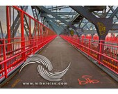 Williamsburg Bridge, old school, architecture, bridge, converging lines, pink, grey, walk way, nyc, brooklyn, angle, perspective