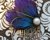 WINTER Heart and Soul Collection -  Purple Peacock Feather Hair Comb