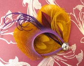 CHLOE in Gold and Purple Peacock Feather Hair Clip, Fascinator