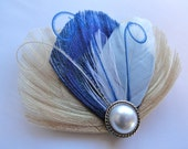 ASHLEY in Royal Blue and Ivory Peacock Feather Hair Clip
