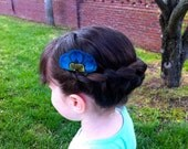 YVETTE in Blue and Turquoise Peacock Feather Hair Comb Set