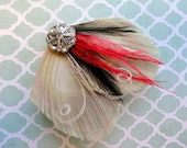 VERONICA Black, Red, and Ivory Peacock Feather Hair Clip, Feather Fascinator