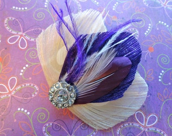 ASHLEY in Purple and Ivory Peacock Feather Hair Clip, Fascinator