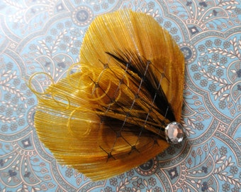TASHA in Gold and Black Peacock Feather Hair Clip, Fascinator with Veil