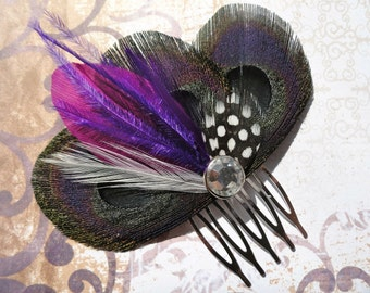 DANIELLE in Black and Purple Peacock Feather Fascinator, Hair Comb