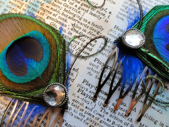 CECILE Peacock Feather Hair Combs, Fascinator Wedding